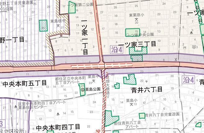 足立区周辺の都市計画図(道路)を見て気になるところ。