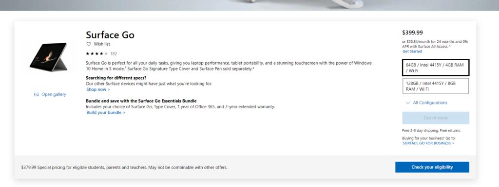 米マイクロソフト公式販売ページのスクリーンショット。surface Goは品切れとなっている・